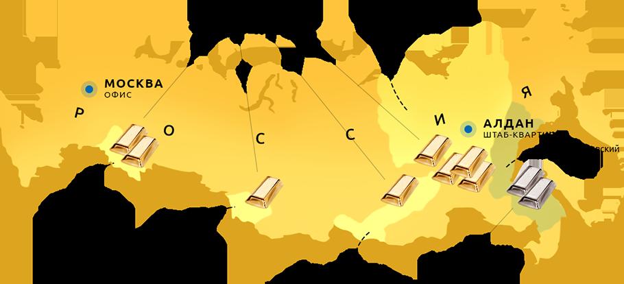 Карта деятельности холдинга «Селигдар»